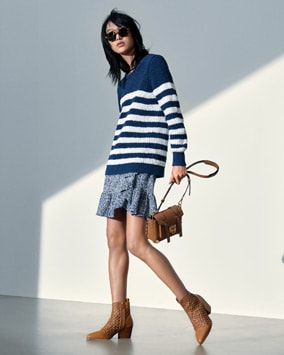 Striped Sweater, Ikat Skirt, Manhattan Crossbody, Augustine Ankle Boot
