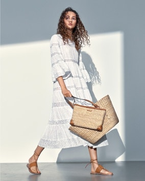 Cotton Dress, Malibu Tote, Malibu Clutch, Marlon Sandal